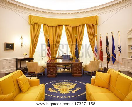 YORBA LINDA, CALIFORNIA - FEBRUARY 24, 2017: Richard M Nixon Oval Office recreation. The replica room is part of the museum at the Nixon Library and Birthplace.