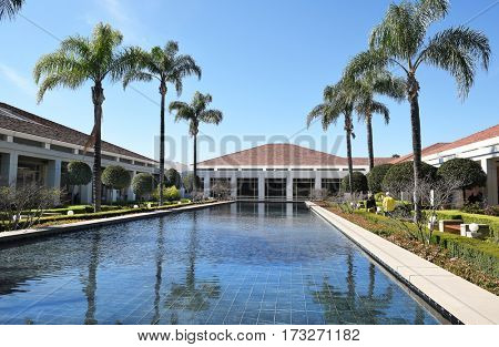 YORBA LINDA, CALIFORNIA - FEBRUARY 24, 2017: Reflecting Pool at the Richard Nixon Library and Birthplace. The presidential library and museum and final resting place of the 37th president.