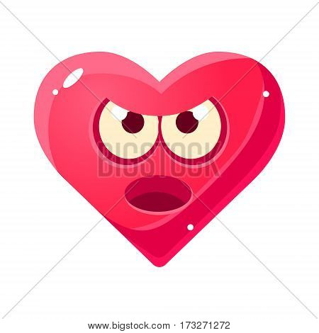 Angry And Annoyed Emoji, Pink Heart Emotional Facial Expression Isolated Icon With Love Symbol Emoticon Cartoon Character. Simple Heart-Shaped Face With Emotion Vector Sticker For Social Networks.
