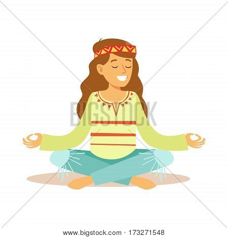 Girl Hippie Dressed In Classic Woodstock Sixties Hippy Subculture Clothes Meditating In Lotus Pose. Happy Cartoon Character Belonging To 60s Peaceful Subculture Movement Camping In Nature.