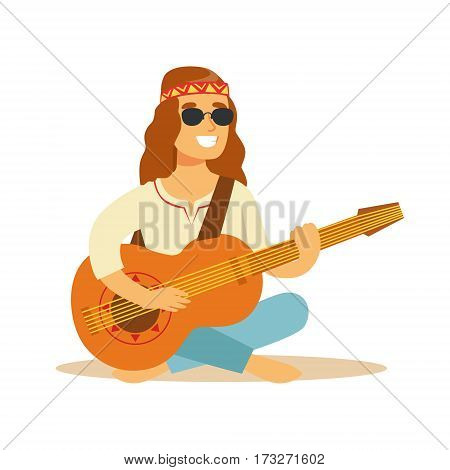 Man Hippie Dressed In Classic Woodstock Sixties Hippy Subculture Clothes Sitting Playing Guitar In Round Shades. Happy Cartoon Character Belonging To 60s Peaceful Subculture Movement Camping In Nature.
