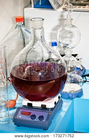 Digital magnetic hotplate stirrer. Mixing and distilling equipment in chemical laboratory