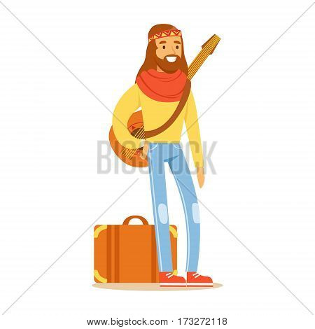 Man Hippie Dressed In Classic Woodstock Sixties Hippy Subculture Clothes Traveling With Guitar And Suitcase. Happy Cartoon Character Belonging To 60s Peaceful Subculture Movement Camping In Nature.