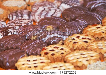 Background of different cookies. Pattern of many cookies
