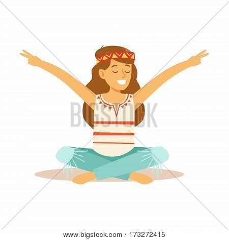 Girl Hippie Dressed In Classic Woodstock Sixties Hippy Subculture Clothes Sitting With Her Legs Crossed And Showing Peace Gesture. Happy Cartoon Character Belonging To 60s Peaceful Subculture Movement Camping In Nature.
