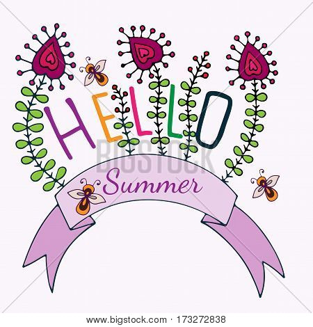 Hello Summer lettering with flower and bee. Hand drawn phrase for card invitation posters texture backgrounds placards banners.