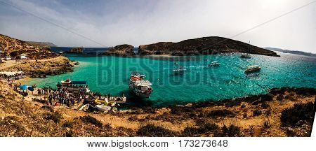 Blue lagoon beach at Comino island Malta