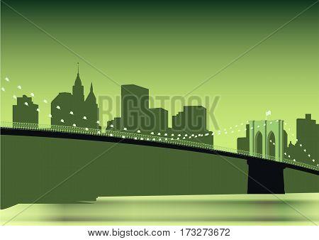 Brooklyn Bridge panorama over East River in New York City
