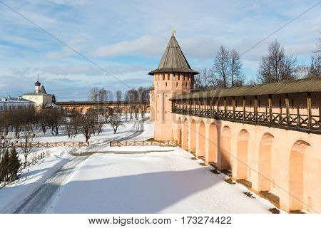 the courtyard of the medieval monastery in Russia