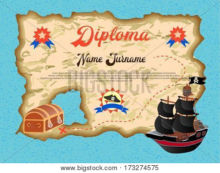 Diploma of the winner in the quest search of pirate treasure Vector illustration