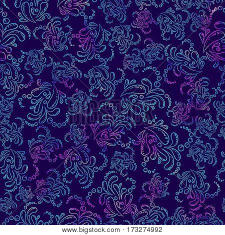 Watercolor Seamless flower pink blue doodle on violet background pattern. Hand drawn elements. Bright art for textile, wallpaper. Vintage texture. Endless print. Fabric