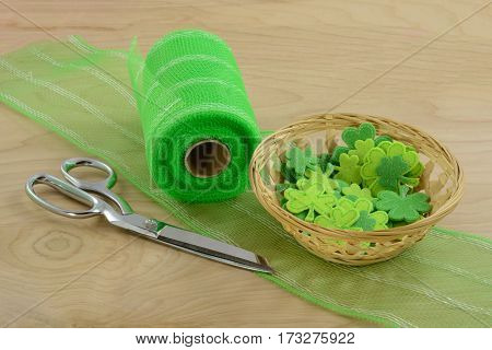 Crafting Project for Saint Patrick's Day with green ribbon and shamrocks