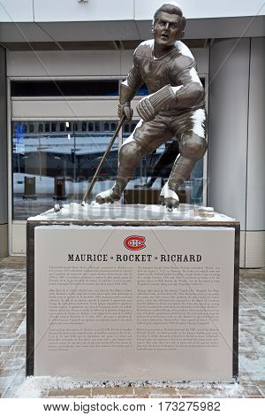MONTREAL-CANADA 02 15 2017: The statue of Maurice