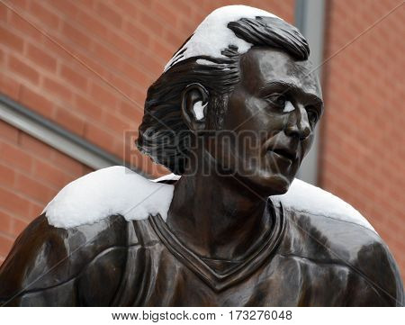 MONTREAL-CANADA 02 15 2017: Statue of Guy Lafleur in front the Bell Center. Lafleur is the all-time leading scorer in Canadiens history, notching 1,246 points.