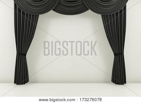 black curtain or drapes background scene. 3d rendering