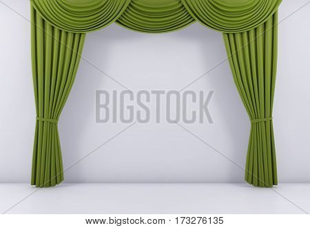 green curtain or drapes background scene. 3d rendering