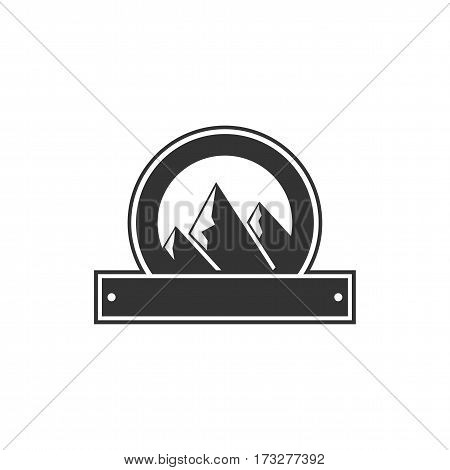 Vector blank badge form with mountains. Good for retro adventure labels, logos. Vintage silhouette insignia design. Isolated on white background. Stock vector.