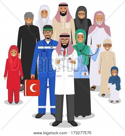 Muslim people family in traditional islamic clothes and arabian doctors standing together. Vector illustration.