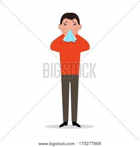 Vector illustration of a cartoon man caught a cold, sneezing, ill. Isolated white background. Boy has flu, sneeze, spring allergies. Flat style. Man allergic sneezing into a handkerchief.