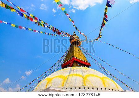 Bouddhanath Stupa With Colorful Buddhist Flags, Kathmandu, Nepal
