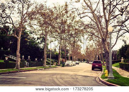 residential neighborhood in Los Angeles in California