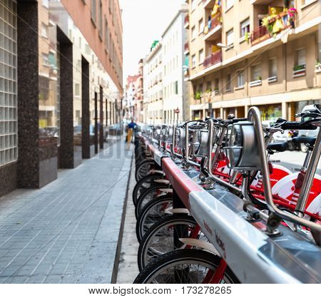 Bicycle rental on the streets of Barcelona