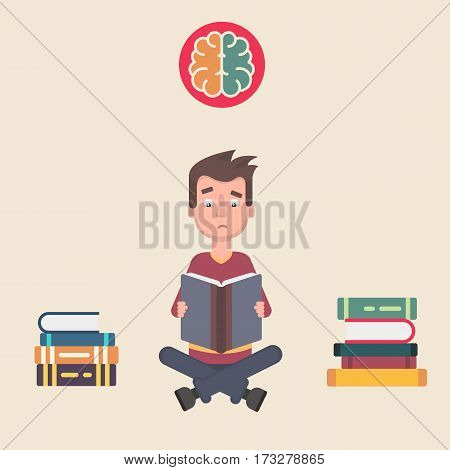 Teenager reading a lot of books and remembers everything. Vector illustration in a flat style