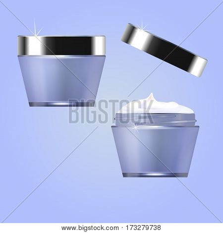 Jars with cosmetic moisturizer. Perfumery. Vector illustration
