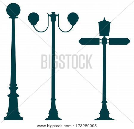 Old city street lights set of three objects