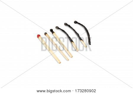 burned matches are isolated on white background
