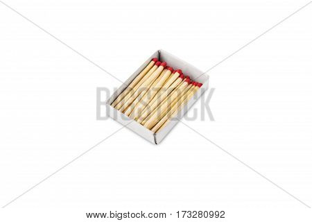 colorful matches in the box isolated on white background
