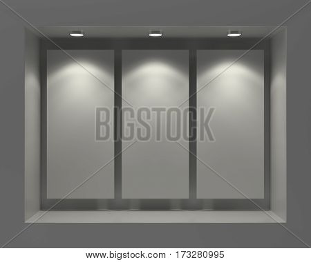 Blank white posters in showcase window in the darkness, 3D Rendering