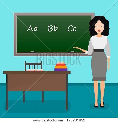 language teacher at school vector illustration. female teacher in class.