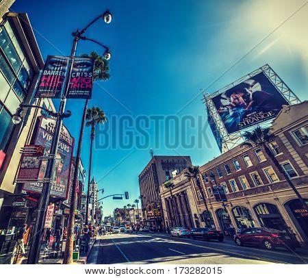 Los Angeles CA USA - November 02 2016: Tourists in Hollywood boulevard