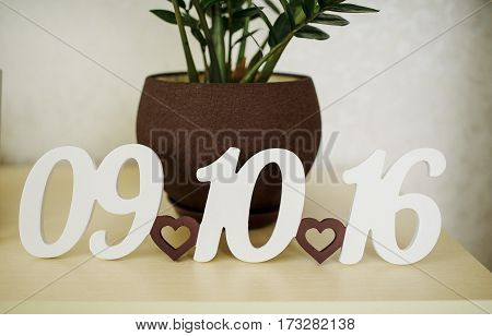 Sign Of Date Wedding Background Pot With Flower.