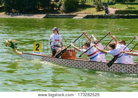 Rome Italy - July 30 2016: Dragon boat crews compete at the european championships held in Italy in 2016 summer the UK crew