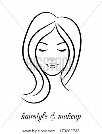 Contour logo for beauty salon with woman with closed eyes
