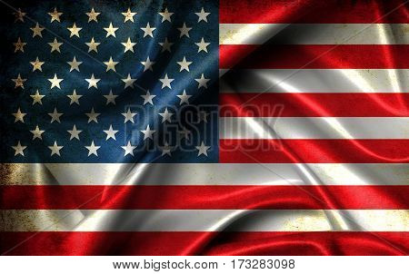 American Flag On Old Background Retro Effect