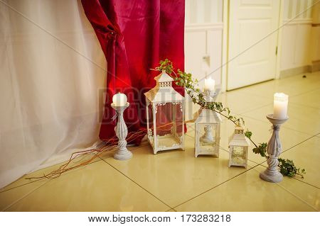 Candles And Candlestick Such As Element Of Decor On Great Wedding Hall.