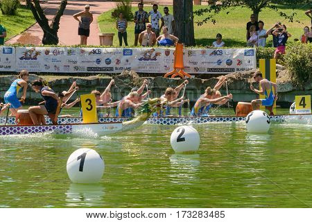 Rome Italy - July 30 2016: Dragon boat crews compete at the european championships held in Italy in 2016 summer England Spain and Sverige crews during the race