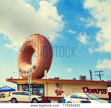 Inglewood CA USA - November 01 2016: Famous Randy Donuts sign