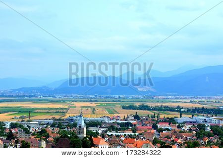 Aerial view of the village Codlea, Transilvania. Codlea is believed to have been also founded by Germans.