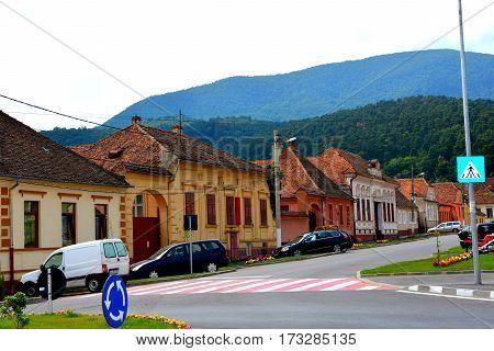 Typical houses in the village Codlea, Transylvania, Romania.