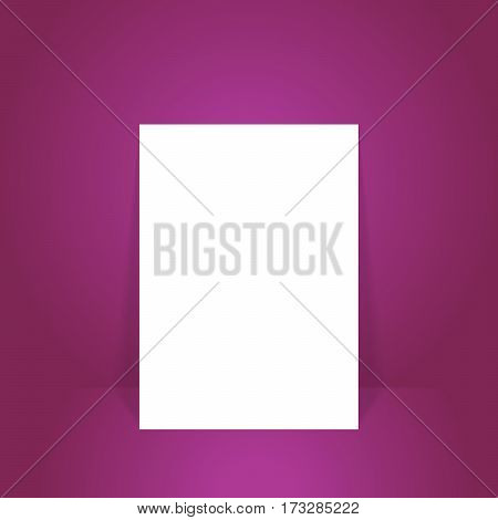 Vector illustration blank white poster in purple studio room for mock up for display of your content or products