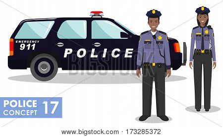 Couple of african american police people and police car isolated on white background. Set of USA policeman and policewoman standing together. Cute and simple in flat style.
