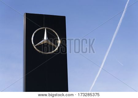 Prague, Czech Republic - February 25: Mercedes-benz Car Logo On Dealership Building On February 25,