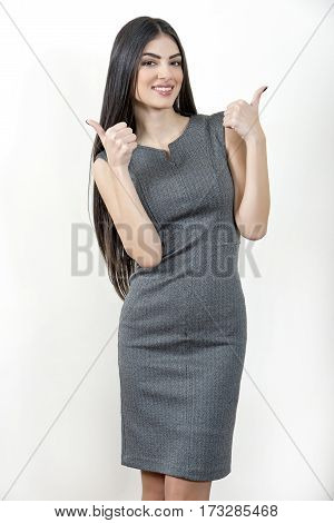 Business Woman With Thumbs Up Gesture.