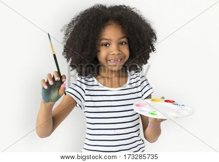 Little Girl Hands Hold Colors Plate Paint