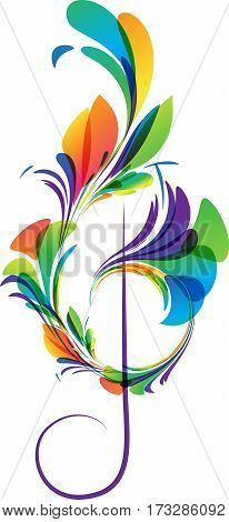 Art treble clef on white background vector illustration
