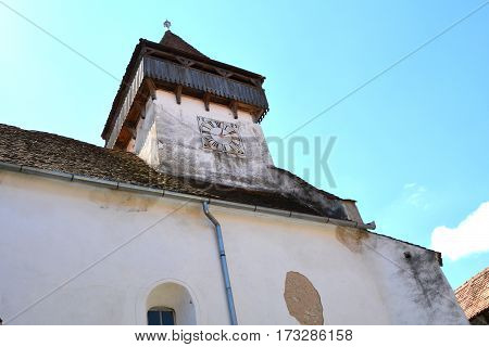 Fortified saxon medieval church in the village Homorod, Transylvania.